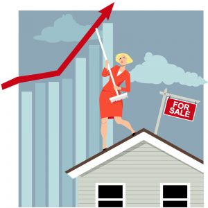 woman on house for sale