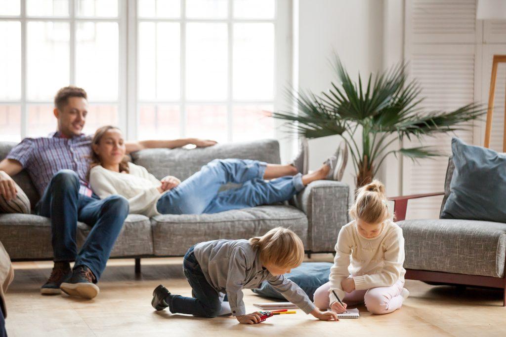 family in modular home